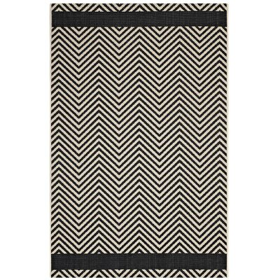 Electra Chevron Black/Beige Indoor/Outdoor Area Rug Rug Size: Rectangle 5 x 8