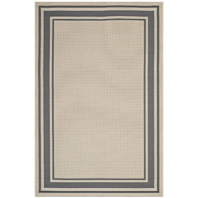 Holiman Solid Border Borderline Gray/Beige Indoor/Outdoor Area Rug Rug Size: Rectangle 5 x 8