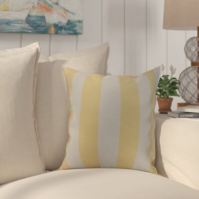 Crider Stripe Print Indoor/Outdoor Throw Pillow Color: Yellow, Size: 18 x 18