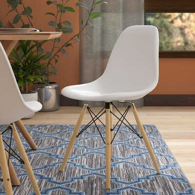 Harrison Solid Wood Dining Chair Upholstery: White