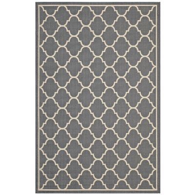 Heskett Moroccan Quatrefoil Trellis Gray/Beige Indoor/Outdoor Area Rug Rug Size: Rectangle 5 x 8