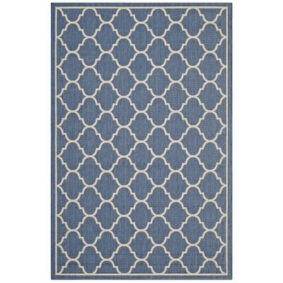 Heskett Moroccan Quatrefoil Trellis Blue/Beige Indoor/Outdoor Area Rug Rug Size: Rectangle 5 x 8