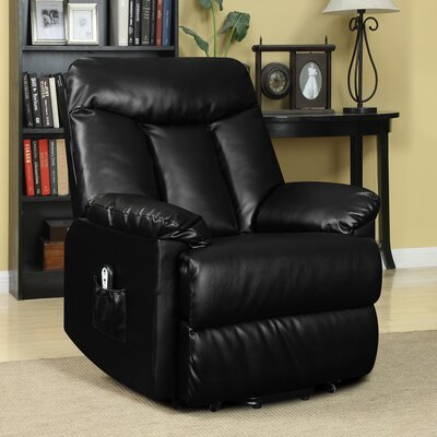 Cress Power Lift Assist Wall Hugger Recliner Upholstery: Black