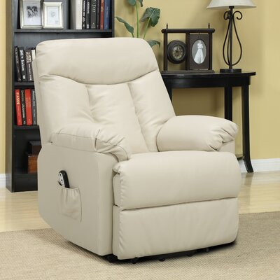 Cress Power Lift Assist Wall Hugger Recliner Upholstery: Cream