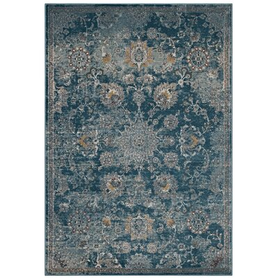Fillion Floral Persian Medallion Teal/Beige Area Rug Rug Size: Rectangle 5 x 8