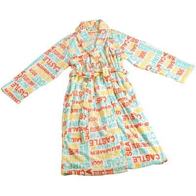 Words Microfiber Flannel Fleece Bathrobe Size: Small