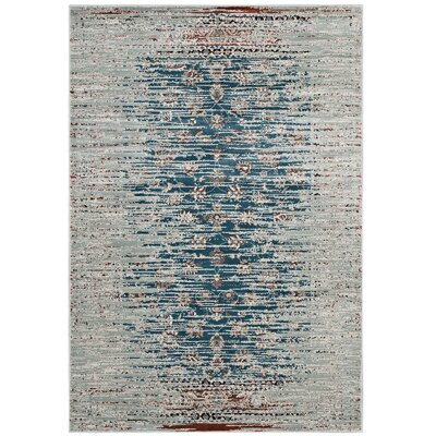 Longino Contemporary Teal/Beige Area Rug Rug Size: Rectangle 5 x 8