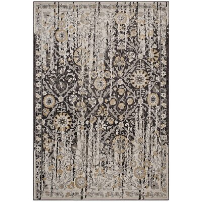 Fewell Diamond Floral Lattice Black/Beige Area Rug Rug Size: Rectangle 5 x 8