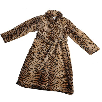 Tiger Microfiber Flannel Fleece Bathrobe Size: Large