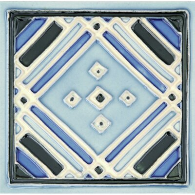 Hand-Painted 6 x 6 Ceramic Field Tile in Aztec Blue