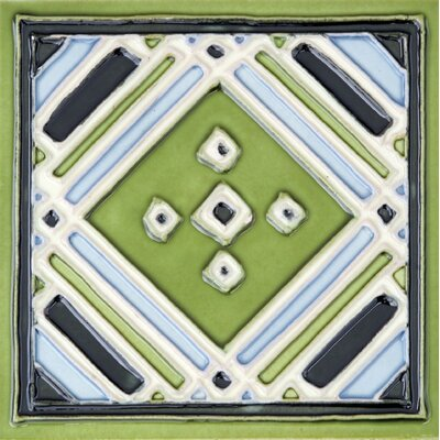 Hand-Painted 6 x 6 Ceramic Field Tile in Aztec Green
