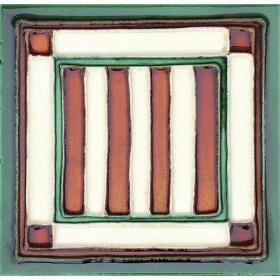 Hand-Painted 6 x 6 Ceramic Field Tile in Banderas