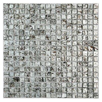 Micro Folia 0.56 x 0.56 Glass Mosaic Tile in Winter Birch Silver