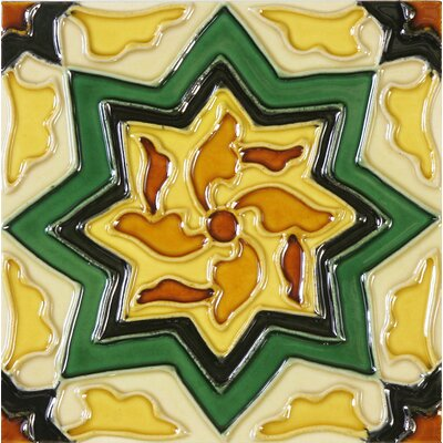 Hand-Painted 6 x 6 Ceramic Field Tile in Cirino