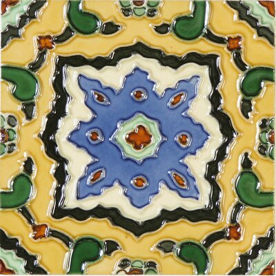 Hand-Painted 6 x 6 Ceramic Field Tile in Corrientes