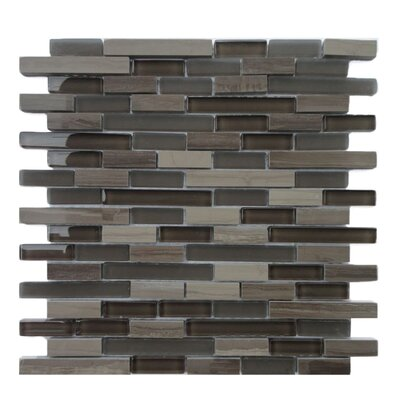 Opera Random 0.56 x 3.8 Glass/Marble Mosaic Tile in Aria Dark