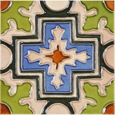 Hand-Painted 6 x 6 Ceramic Field Tile in Cruz