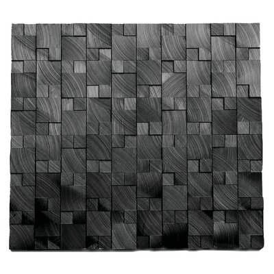 Random Sized Metal Mosaic Tile in Droid Brushed Black