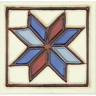 Hand-Painted 6 x 6 Ceramic Field Tile in Estrella
