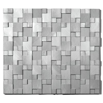 Random Sized Metal Mosaic Tile in Gadget Brushed Silver