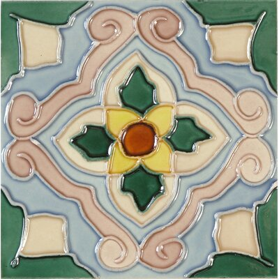 Hand-Painted 6 x 6 Ceramic Field Tile in Flor