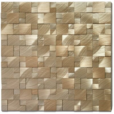 Random Sized Metal Mosaic Tile in Gear Brushed Gold