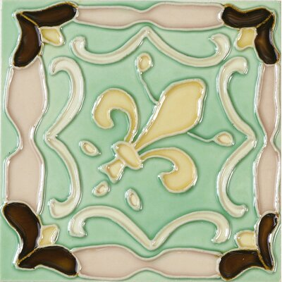 Hand-Painted 6 x 6 Ceramic Field Tile in Flur De Lis