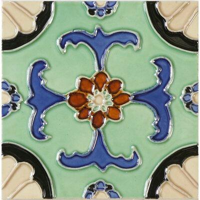 Hand-Painted 6 x 6 Ceramic Field Tile in Fuente