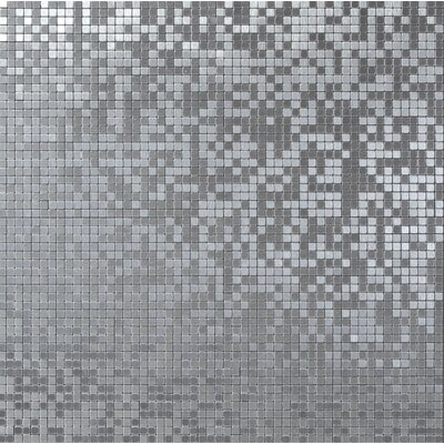 Micro 0.38 x 0.38 Metal Mosaic Tile in Foil Brushed Silver