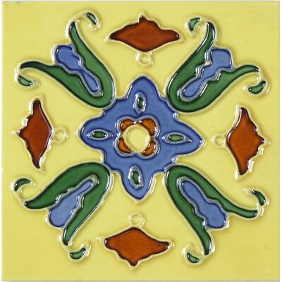Hand-Painted 6 x 6 Ceramic Field Tile in Lirio