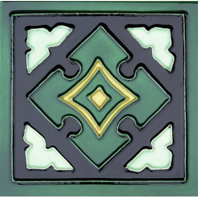 Hand-Painted 6 x 6 Ceramic Field Tile in Mayan