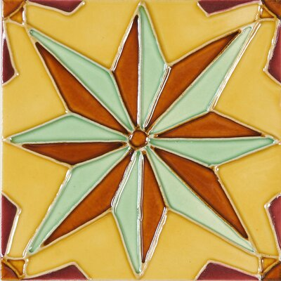 Hand-Painted 6 x 6 Ceramic Field Tile in Nova
