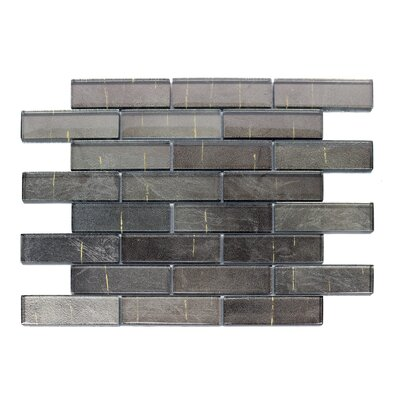 Folia 1.38 x 4 Glass Mosaic Tile in Athirium Gray