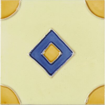 Hand-Painted 6 x 6 Ceramic Field Tile in Rombo