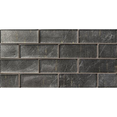 Folia 1.38 x 4 Glass Mosaic Tile in Athyrium Gray