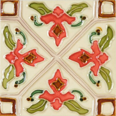 Hand-Painted 6 x 6 Ceramic Field Tile in Tulipan