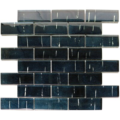 Folia 1.38 x 4 Glass Mosaic Tile in Statice Blue