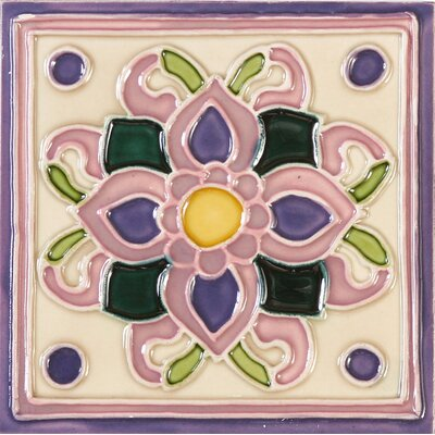 Hand-Painted 6 x 6 Ceramic Field Tile in Violet