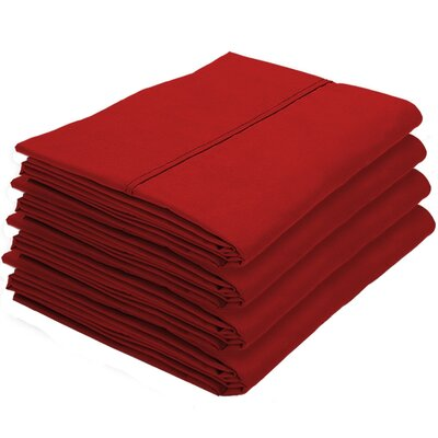 Dupras Bulk Pack Double Brushed Pillow Case Color: Red