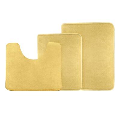 Legler Non-Slip 3 Piece Bath Rug Set Color: Gold