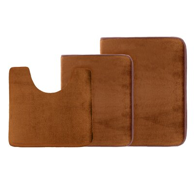 Legler Non-Slip 3 Piece Bath Rug Set Color: Brown