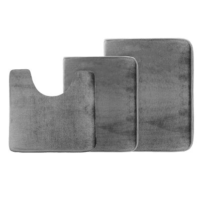Legler Non-Slip 3 Piece Bath Rug Set Color: Gray