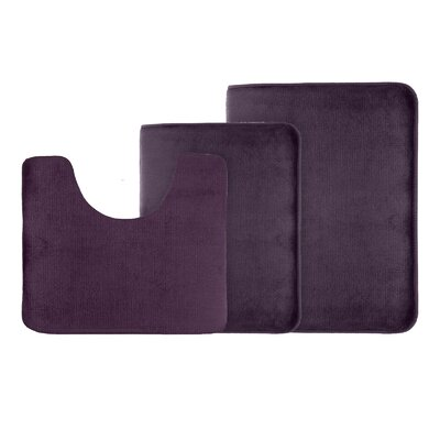 Legler Non-Slip 3 Piece Bath Rug Set Color: Purple