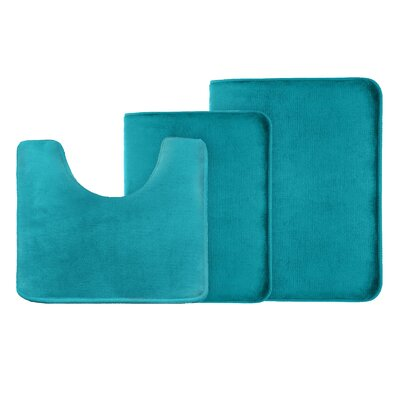 Legler Non-Slip 3 Piece Bath Rug Set Color: Teal