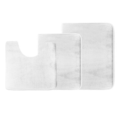 Legler Non-Slip 3 Piece Bath Rug Set Color: White