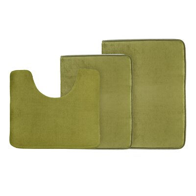 Legler Non-Slip 3 Piece Bath Rug Set Color: Sage Green