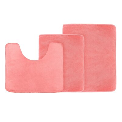 Legler Non-Slip 3 Piece Bath Rug Set Color: Coral Pink