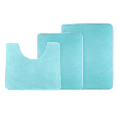Legler Non-Slip 3 Piece Bath Rug Set Color: Aqua Blue