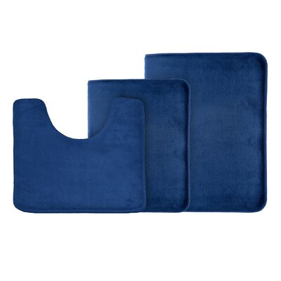 Legler Non-Slip 3 Piece Bath Rug Set Color: Navy Blue