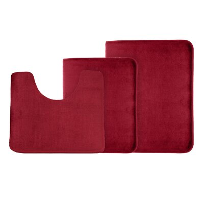 Legler Non-Slip 3 Piece Bath Rug Set Color: Red